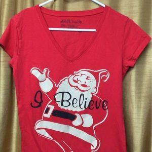 "Tops - Red Santa T-shirt ""I believe"""